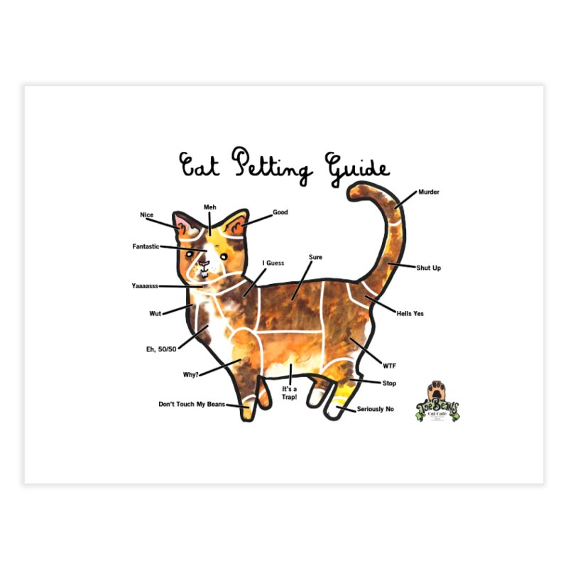 Toe Beans Cat Petting Guide Home Fine Art Print by Toe Beans Cat Cafe Online Shop