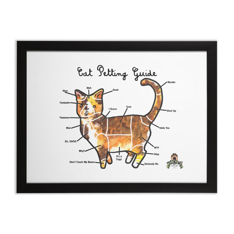 Toe Beans Cat Petting Guide Home Framed Fine Art Print by Toe Beans Cat Cafe Online Shop