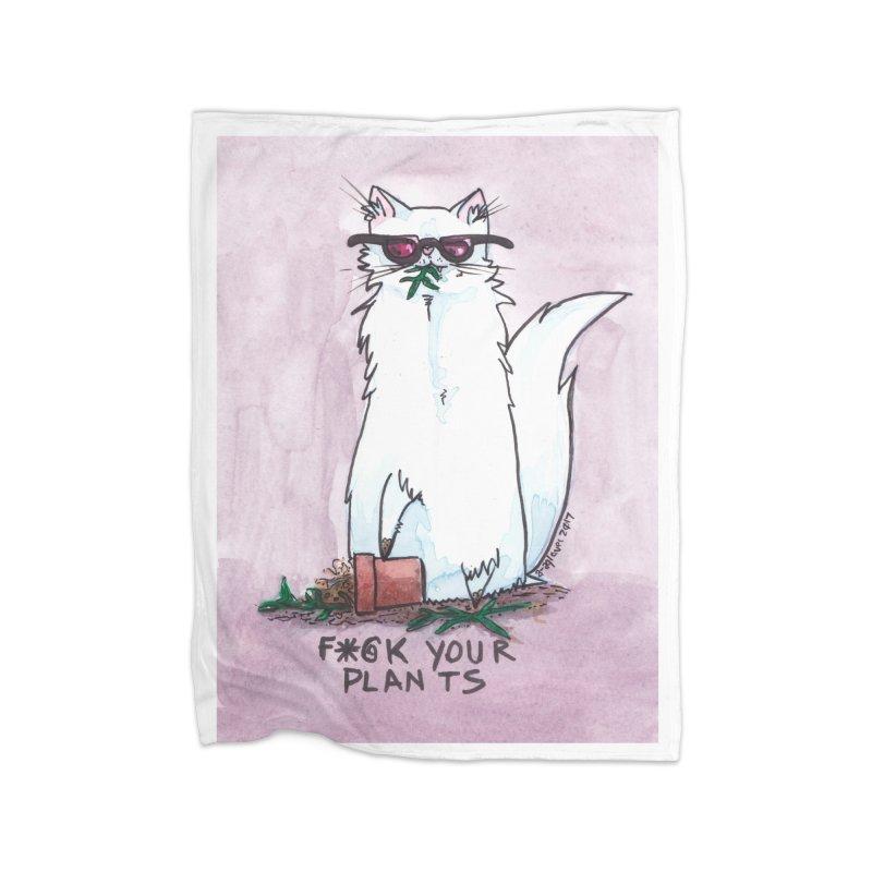 F*@ck Your Plants Home Fleece Blanket Blanket by Toe Beans Cat Cafe Online Shop