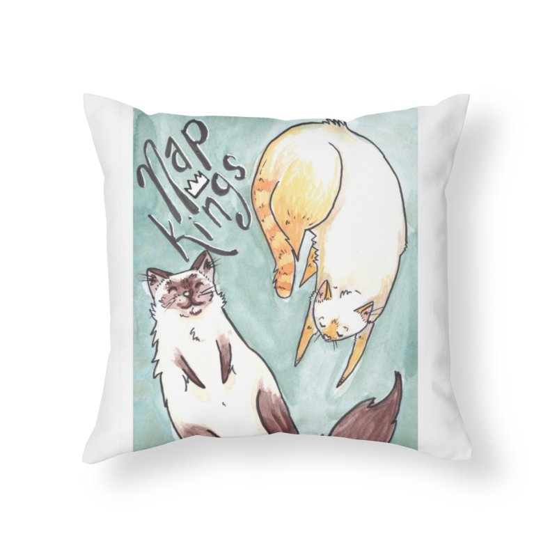 Nap Kings Home Throw Pillow by Toe Beans Cat Cafe Online Shop