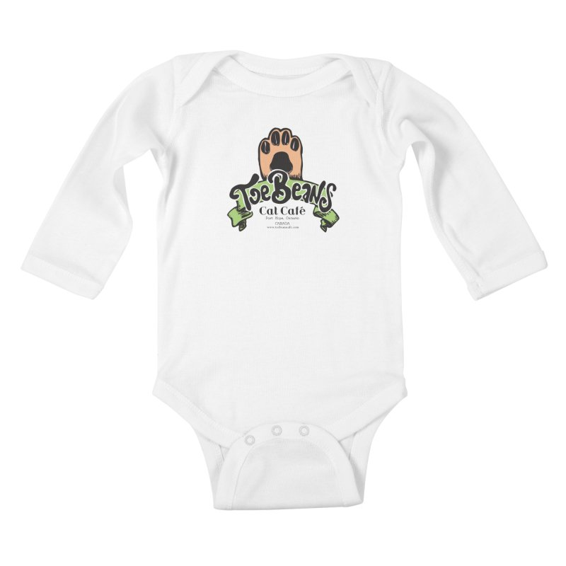 Toe Beans Cat Cafe Original Logo Kids Baby Longsleeve Bodysuit by Toe Beans Cat Cafe Online Shop