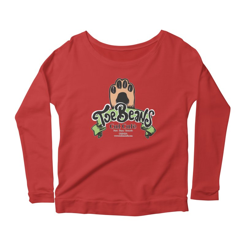 Toe Beans Cat Cafe Original Logo Women's Longsleeve Scoopneck  by Toe Beans Cat Cafe Online Shop