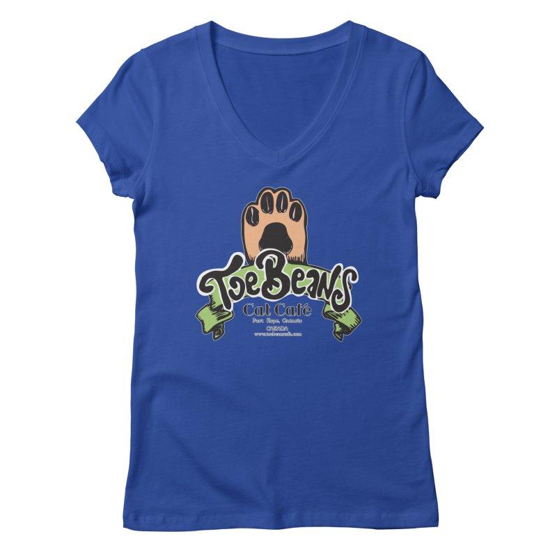 Toe Beans Cat Cafe Original Logo Women's V-Neck by Toe Beans Cat Cafe Online Shop