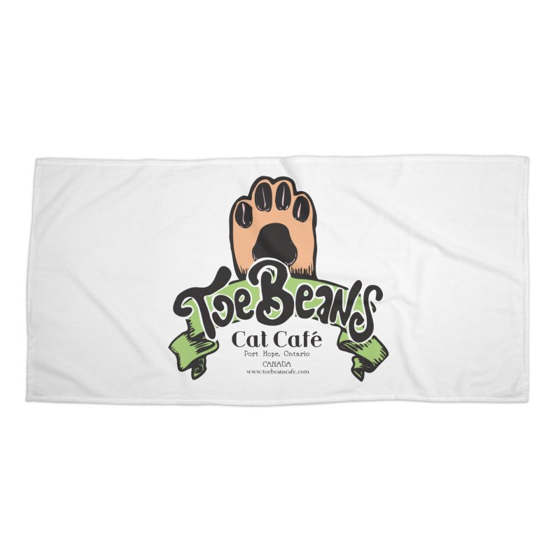 Toe Beans Cat Cafe Original Logo Accessories Beach Towel by Toe Beans Cat Cafe Online Shop