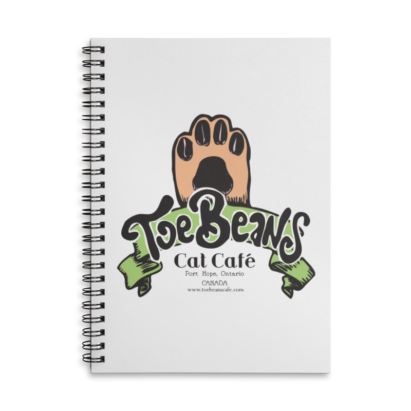 Toe Beans Cat Cafe Original Logo Accessories Lined Spiral Notebook by Toe Beans Cat Cafe Online Shop