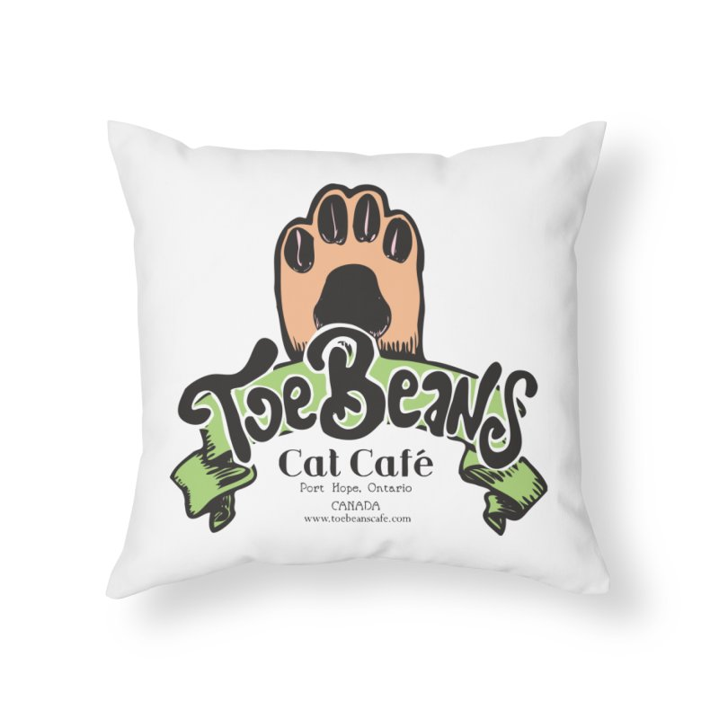 Toe Beans Cat Cafe Original Logo Home Throw Pillow by Toe Beans Cat Cafe Online Shop