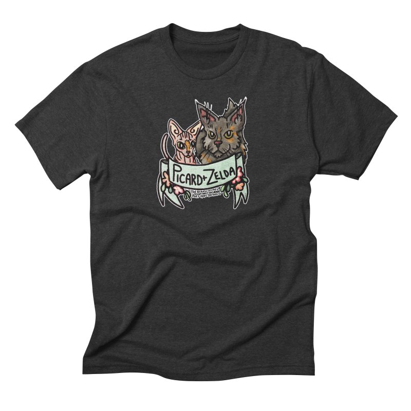 Picard & Zelda Men's Triblend T-Shirt by Toe Beans Cat Cafe Online Shop