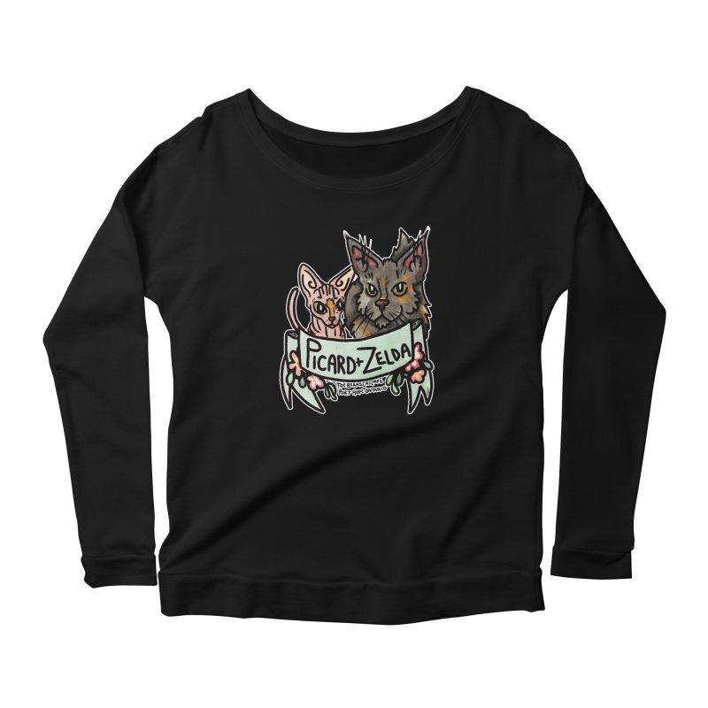 Picard & Zelda Women's Scoop Neck Longsleeve T-Shirt by Toe Beans Cat Cafe Online Shop