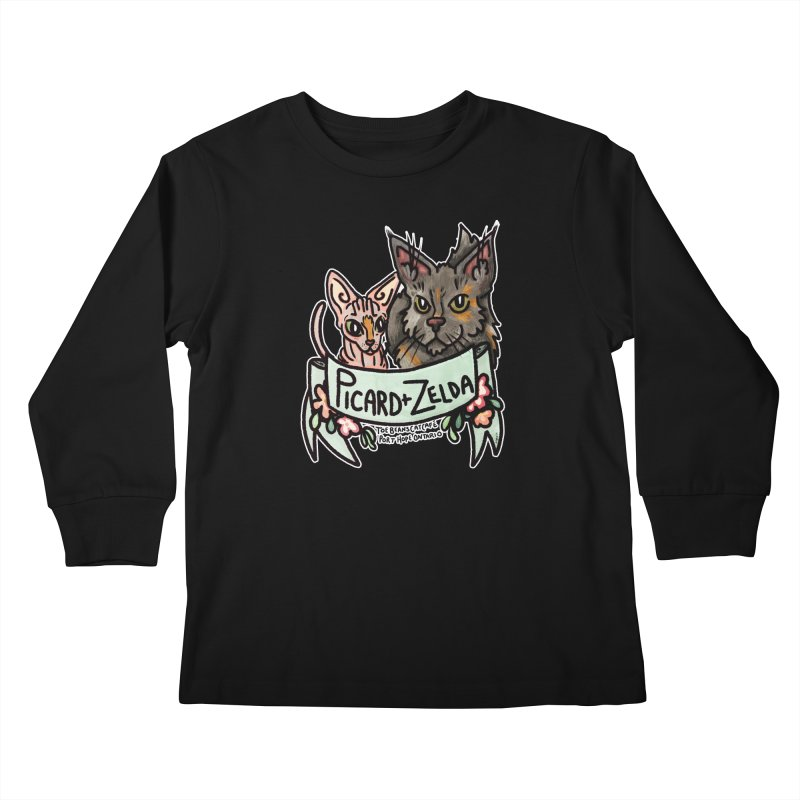 Picard & Zelda Kids Longsleeve T-Shirt by Toe Beans Cat Cafe Online Shop