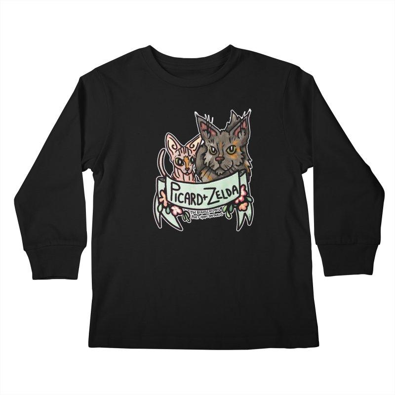 Picard & Zelda Kids Longsleeve T-Shirt by Toe Beans Cat Cafe Online Shop