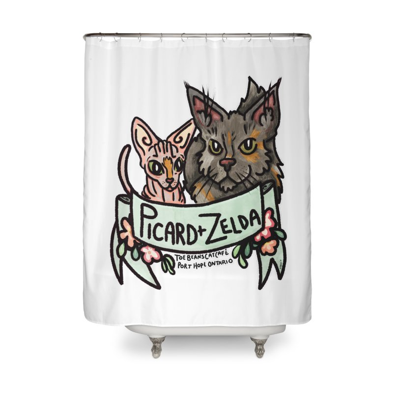 Picard & Zelda Home Shower Curtain by Toe Beans Cat Cafe Online Shop