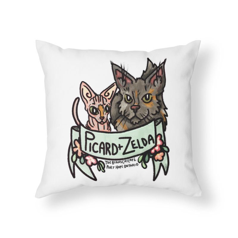 Picard & Zelda Home Throw Pillow by Toe Beans Cat Cafe Online Shop