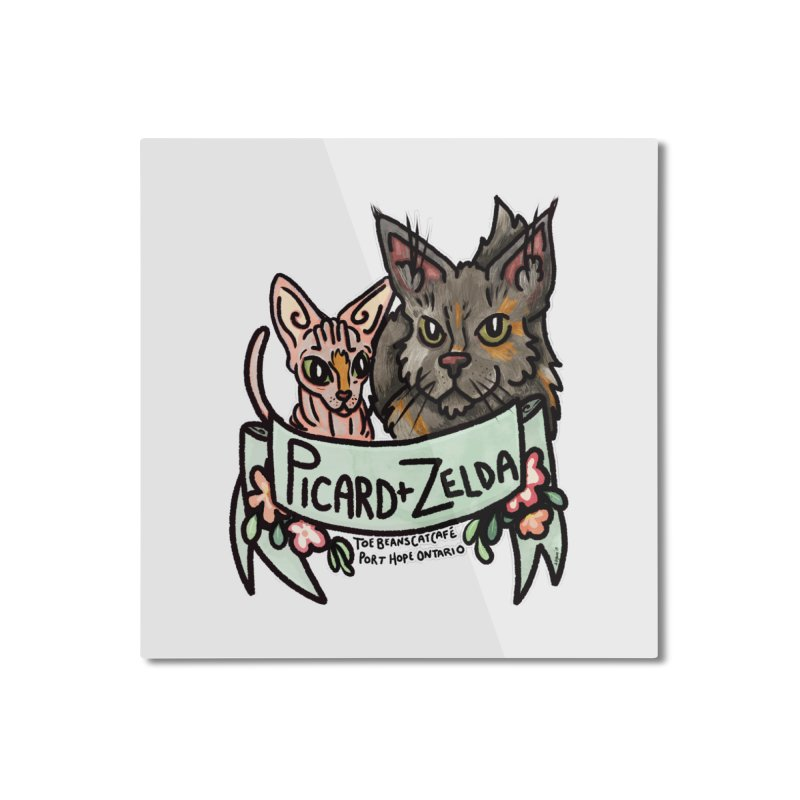 Picard & Zelda Home Mounted Aluminum Print by Toe Beans Cat Cafe Online Shop