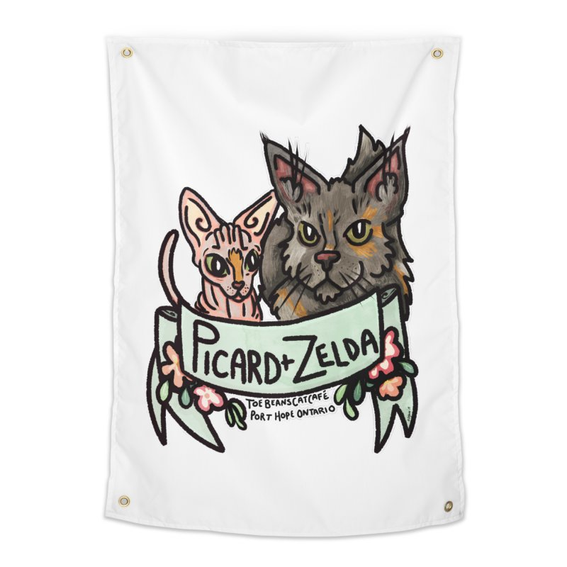 Picard & Zelda Home Tapestry by Toe Beans Cat Cafe Online Shop