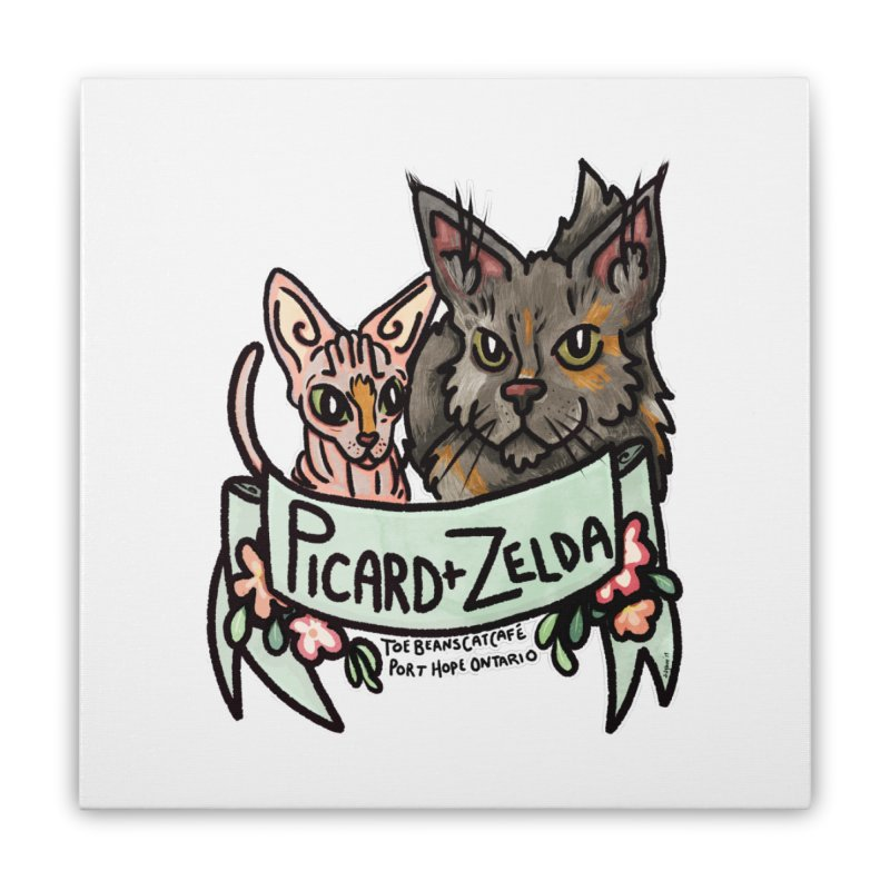 Picard & Zelda Home Stretched Canvas by Toe Beans Cat Cafe Online Shop