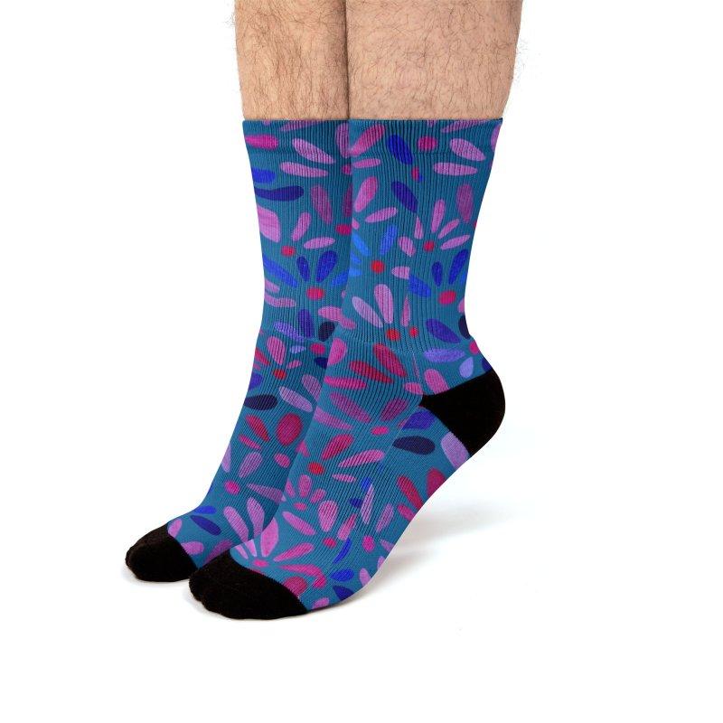 Ditsy Floral in Blue Men's Socks by toiledelina's Artist Shop