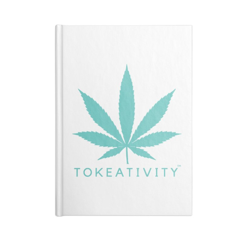 Teal Tokeativity Leaf in Blank Journal Notebook by The Tokeativity Shop