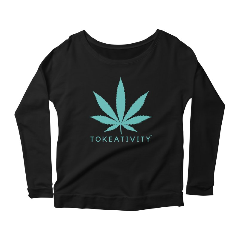 Teal Tokeativity Leaf Women's Longsleeve Scoopneck  by The Tokeativity Shop