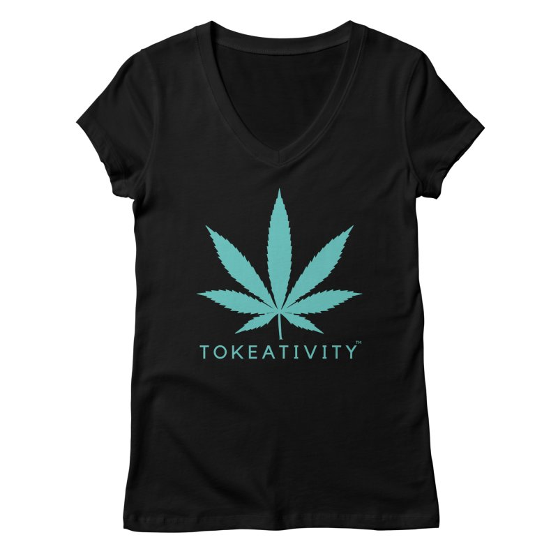 Teal Tokeativity Leaf Women's V-Neck by The Tokeativity Shop