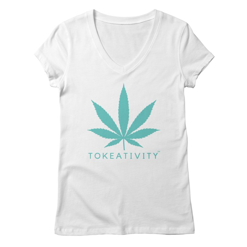 Teal Tokeativity Leaf in Women's V-Neck White by The Tokeativity Shop