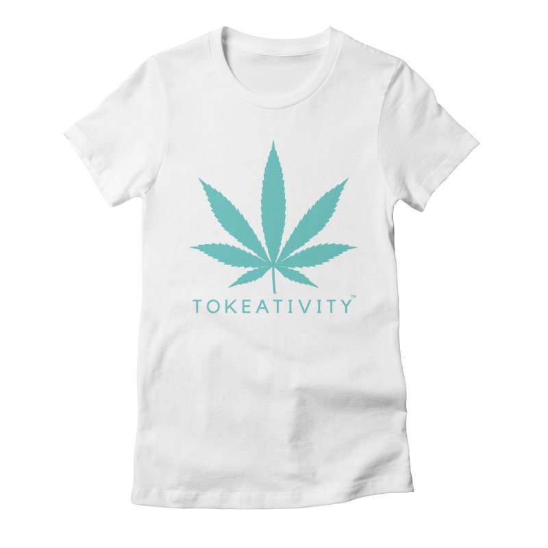 Teal Tokeativity Leaf Women's Fitted T-Shirt by The Tokeativity Shop