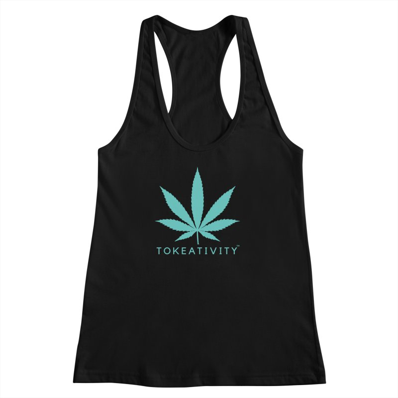 Teal Tokeativity Leaf Women's Racerback Tank by The Tokeativity Shop