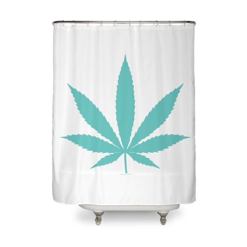 Teal Tokeativity Leaf Home Shower Curtain by The Tokeativity Shop