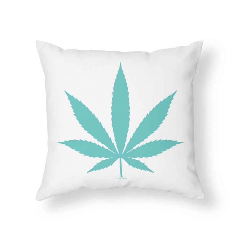 Teal Tokeativity Leaf Home Throw Pillow by The Tokeativity Shop