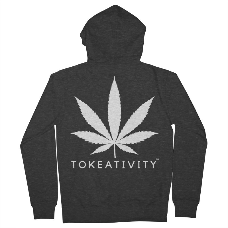 White Tokeativity Leaf in Women's Zip-Up Hoody Smoke by The Tokeativity Shop