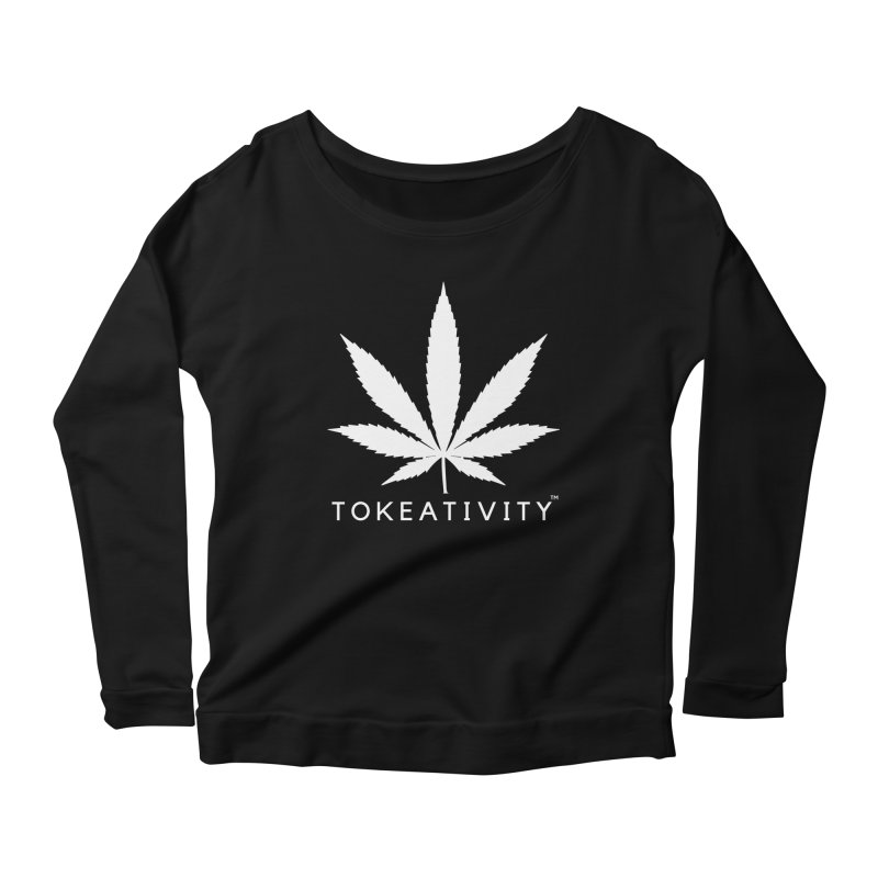 White Tokeativity Leaf in Women's Longsleeve Scoopneck  Black by The Tokeativity Shop