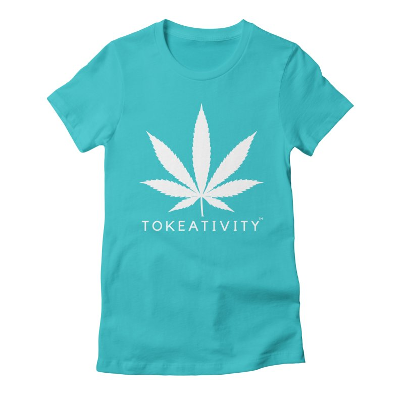 White Tokeativity Leaf Women's Fitted T-Shirt by The Tokeativity Shop