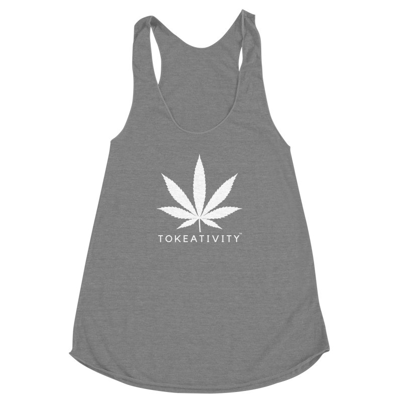 White Tokeativity Leaf Women's Racerback Triblend Tank by The Tokeativity Shop