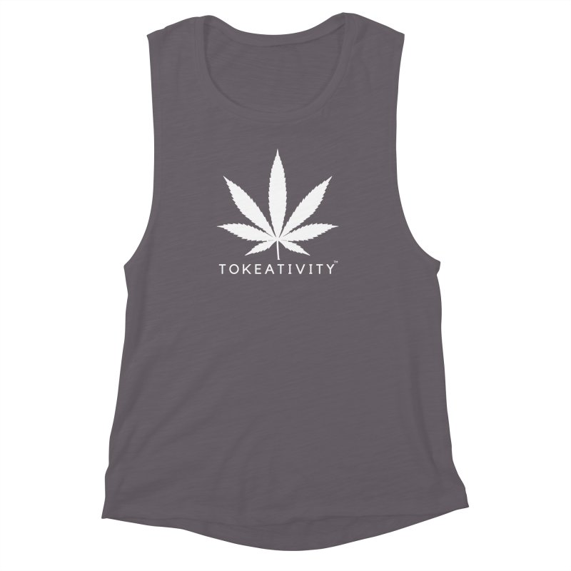 White Tokeativity Leaf Women's Muscle Tank by The Tokeativity Shop