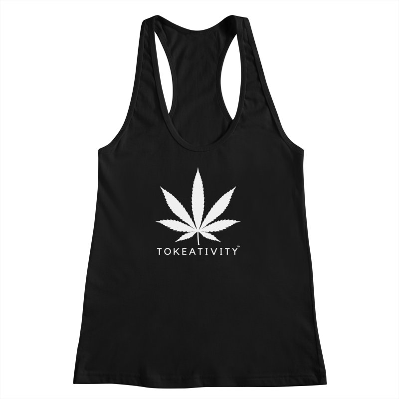 White Tokeativity Leaf Women's Racerback Tank by The Tokeativity Shop