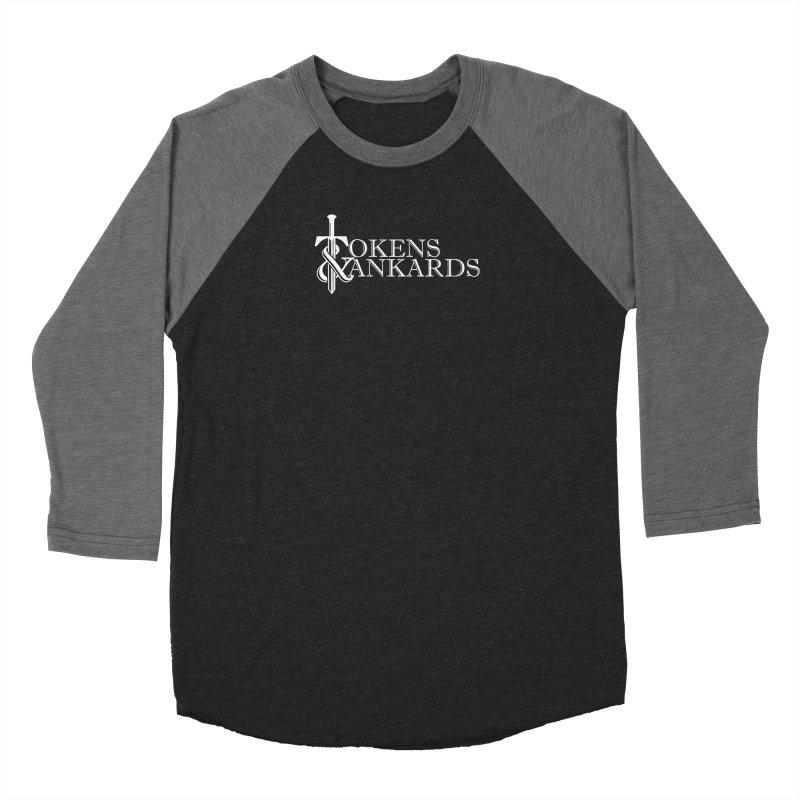 White Logo Men's Baseball Triblend Longsleeve T-Shirt by Tokens & Tankards