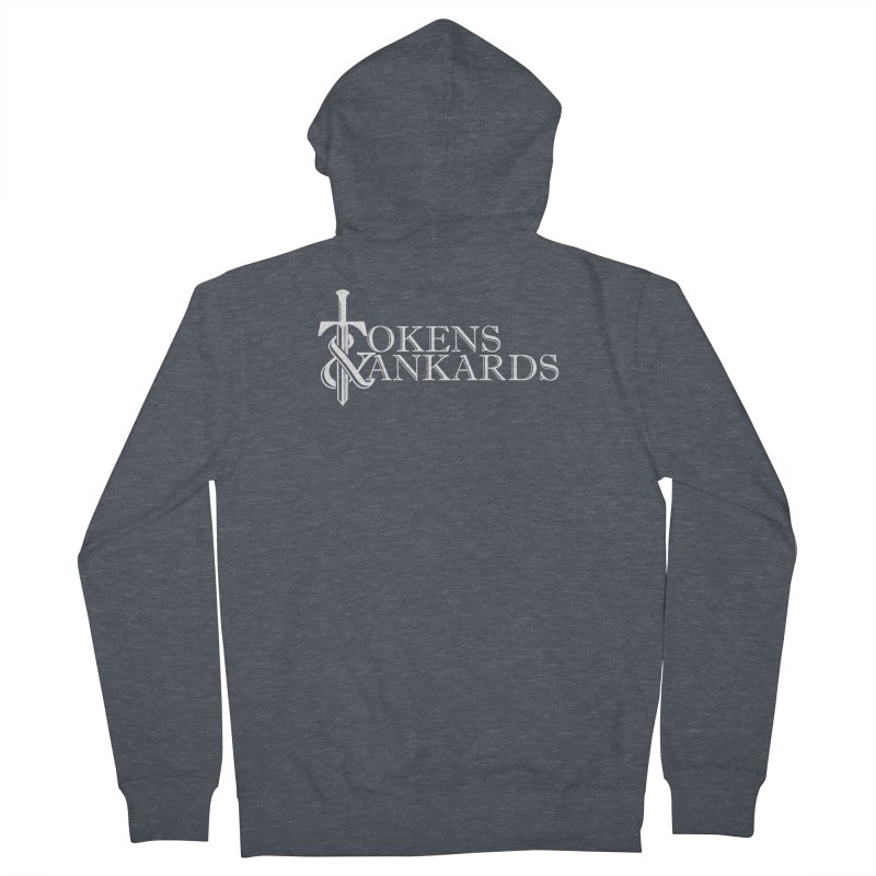 White Logo Men's French Terry Zip-Up Hoody by Tokens & Tankards