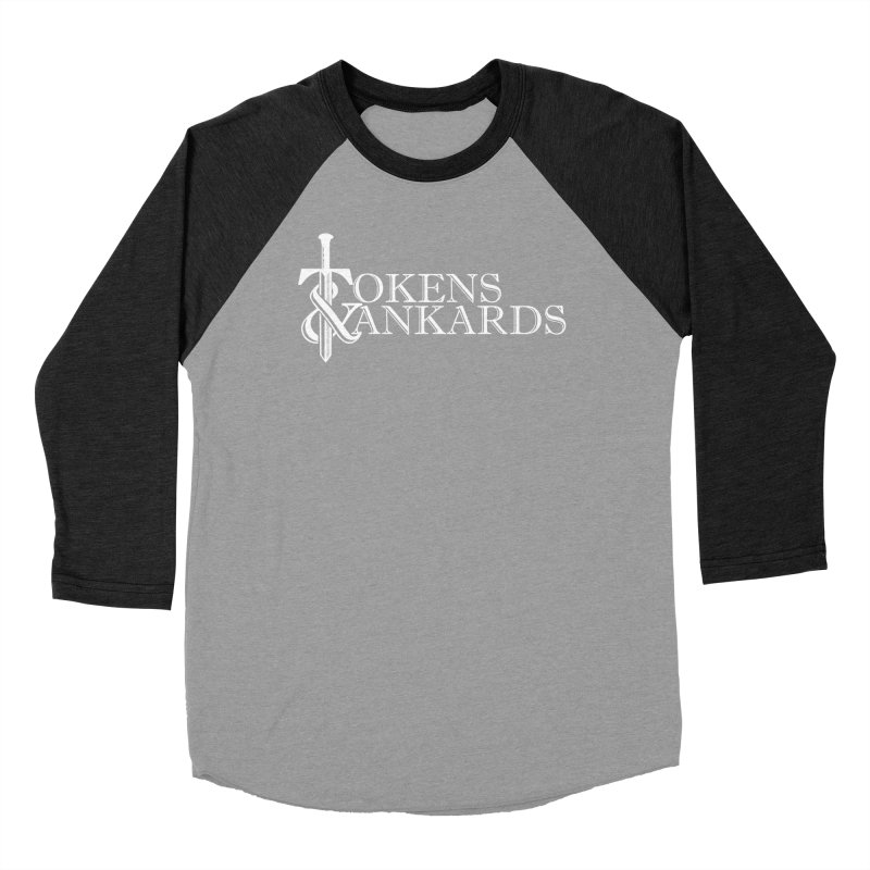 White Logo Men's Baseball Triblend Longsleeve T-Shirt by Tokens & Tankards