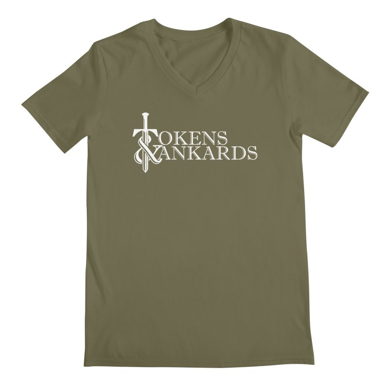 White Logo Men's V-Neck by Tokens & Tankards