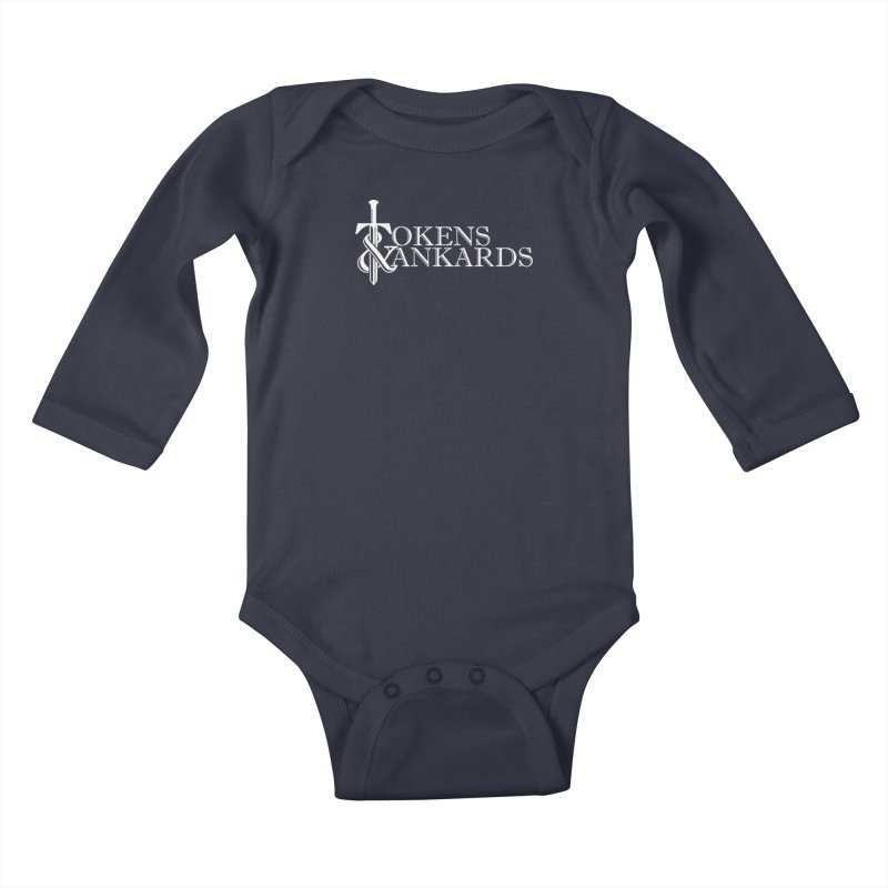 White Logo Kids Baby Longsleeve Bodysuit by Tokens & Tankards