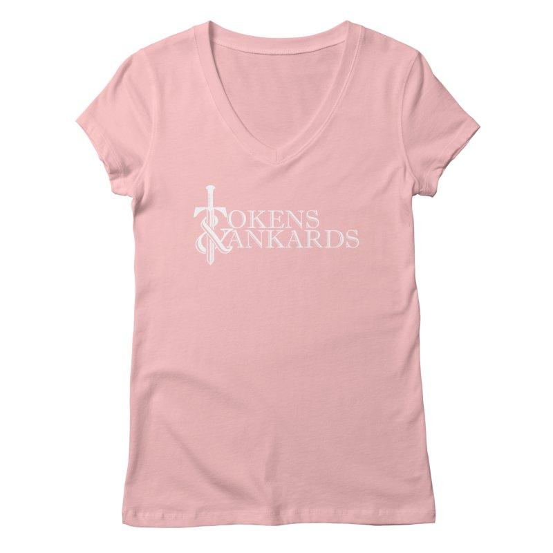 White Logo Women's V-Neck by Tokens & Tankards