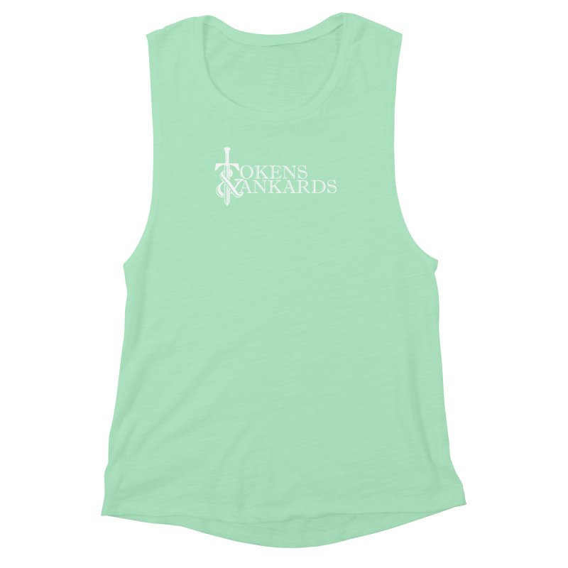 White Logo Women's Muscle Tank by Tokens & Tankards