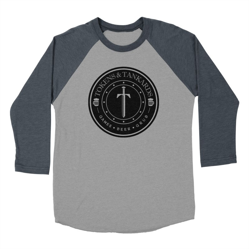 Dark Token in Men's Baseball Triblend T-Shirt Navy Sleeves by Tokens & Tankards
