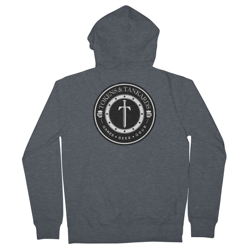 White Banded Token Men's French Terry Zip-Up Hoody by Tokens & Tankards