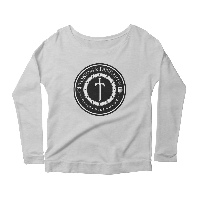 White Banded Token Women's Scoop Neck Longsleeve T-Shirt by Tokens & Tankards