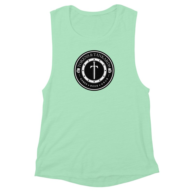 White Banded Token Women's Muscle Tank by Tokens & Tankards
