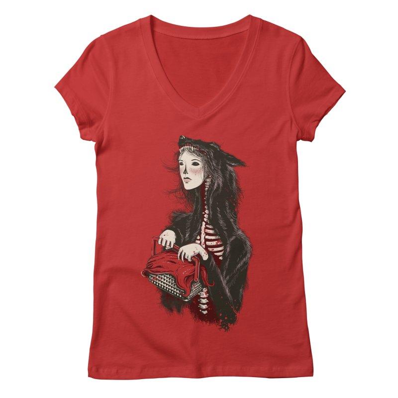 Red Women's V-Neck by tolagunestro's Artist Shop