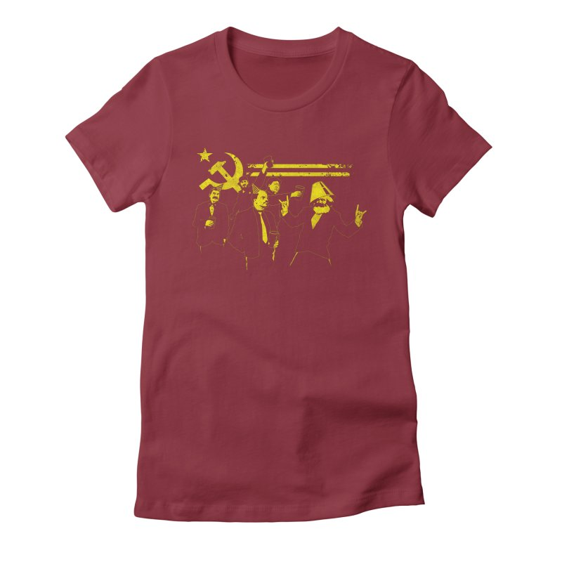 The Communist Party in Women's Fitted T-Shirt Scarlet Red by Tom Burns