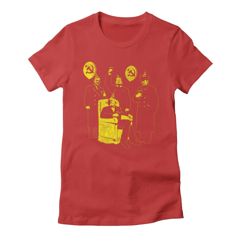 The Communist Party III: The Communing in Women's Fitted T-Shirt Red by Tom Burns