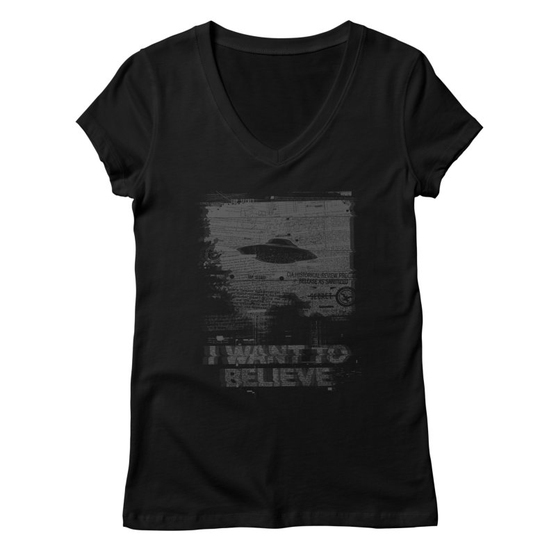 I Want to Believe Women's V-Neck by Tom Burns