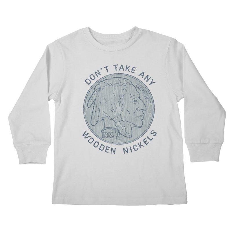 Wooden Nickels Kids Longsleeve T-Shirt by Tom Burns